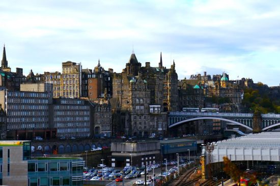 Looking back on Old Town as we walked to Holyrood Castle.