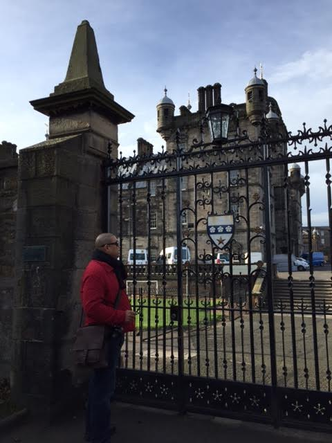 Looking from the Grayfriars Kirkyard into the grounds of the George Herriot school.