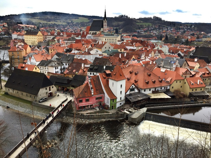 The view of the town from the castle...it is a real-life fairy tale village.