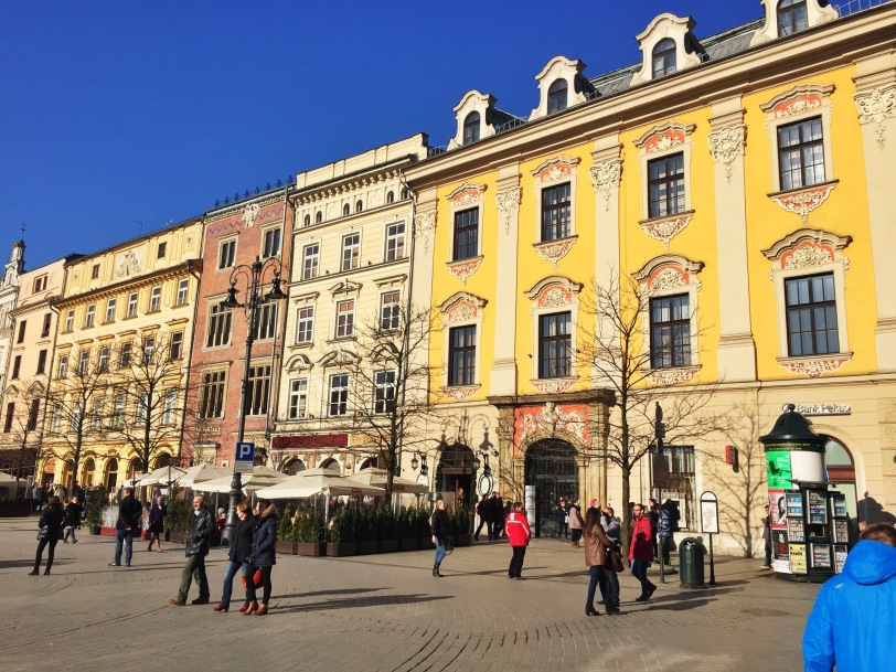 The two towns in Poland we have visited have the prettiest, most colorful squares!