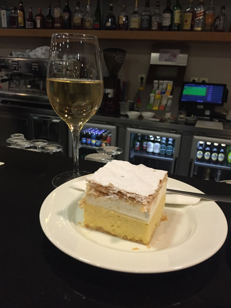 The Bled Creme Cake...with a glass of underrated Slovenia wine.