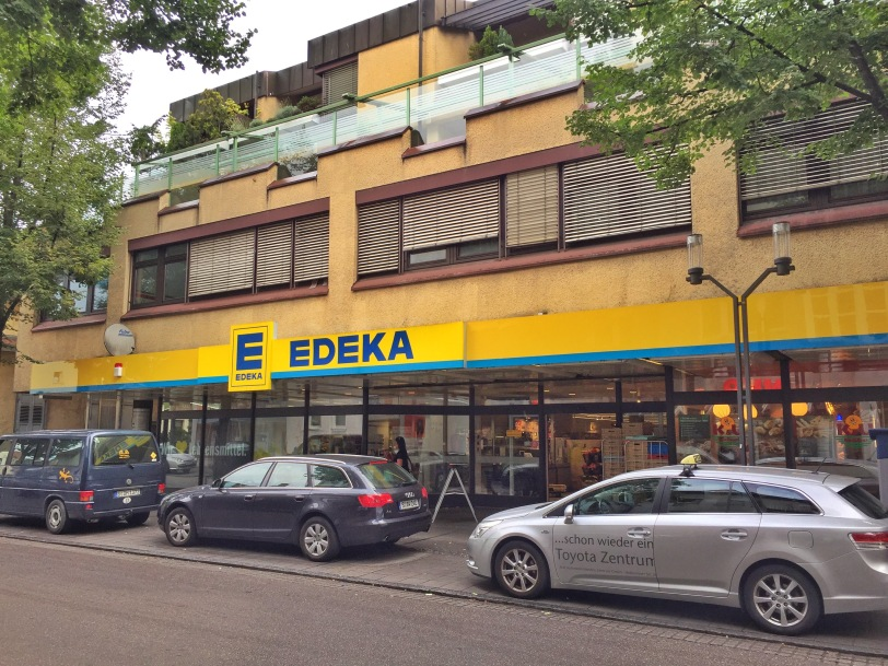 Just around the corner from the Depot, and on our way to the train station, is the Edeka, one of four grocery stores in town but the one we use the most.