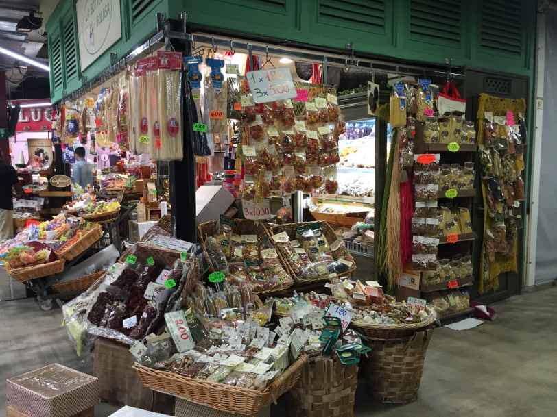 One of the many stands in the market.